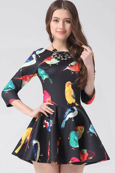 3/4 Sleeve Bird Dress