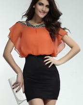 Color Block Batwing Sleeves Cut-out Mini Dress