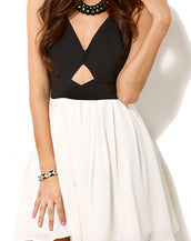 Contrast Cutout Bowknot Dress