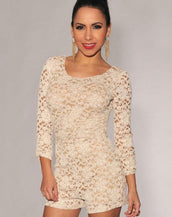 Cream Lace Nude Illusion Knotted Key-Hole Back Romper
