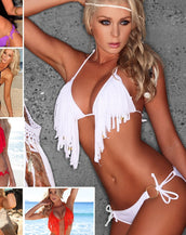 Amazing 6 Colors Tassels Trim Bikini Sets Sexy Swimwear