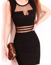 Black Net Sheer Bodycon Dress Sexy Women Lady Sleeveless Bodycon Dress