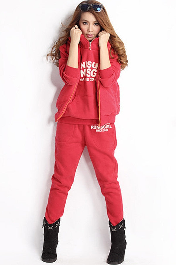 Fashion Women Cool 3 Pieces Warm Hoody Pants Matching Sets