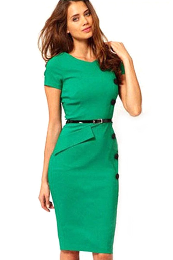 Casual Women Cap Sleeves Button Belt Decoration Midi Dress