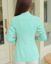 Fashionable Women Long Sleeves One-button Solid Slim Blazer