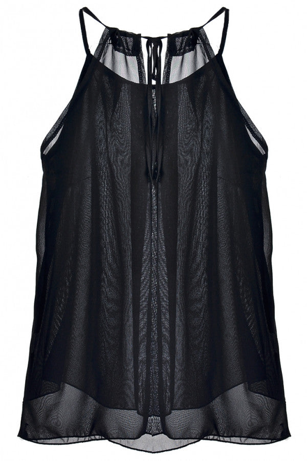 Cute Women Sheer Sleeveless Solid Tank