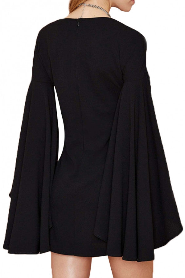 Charming Goddess Black Bell Sleeves Dress with Necklace