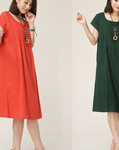 Casual Solid Pockets Shift Dress