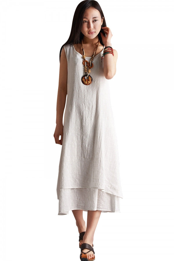 Essential Solid Sleeveless Linen Midi Long Dress