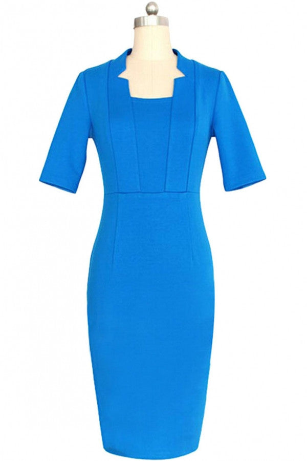 Grace Square Neckline Bodycon Midi Dress