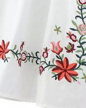 Embroidery Floral Peasant Dress