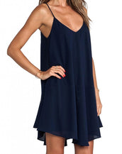 Eye-Catching Navy Irregular Flounce-Hem Cami Dress