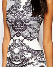 Contrast Lace Print Midi Dress