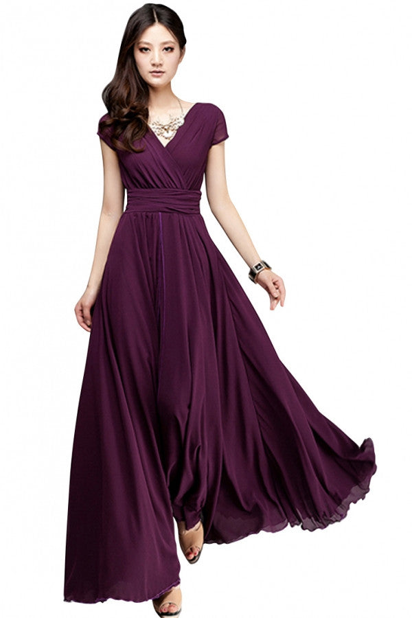 Elegant Fashion Maxi Surplice Chiffon Dress