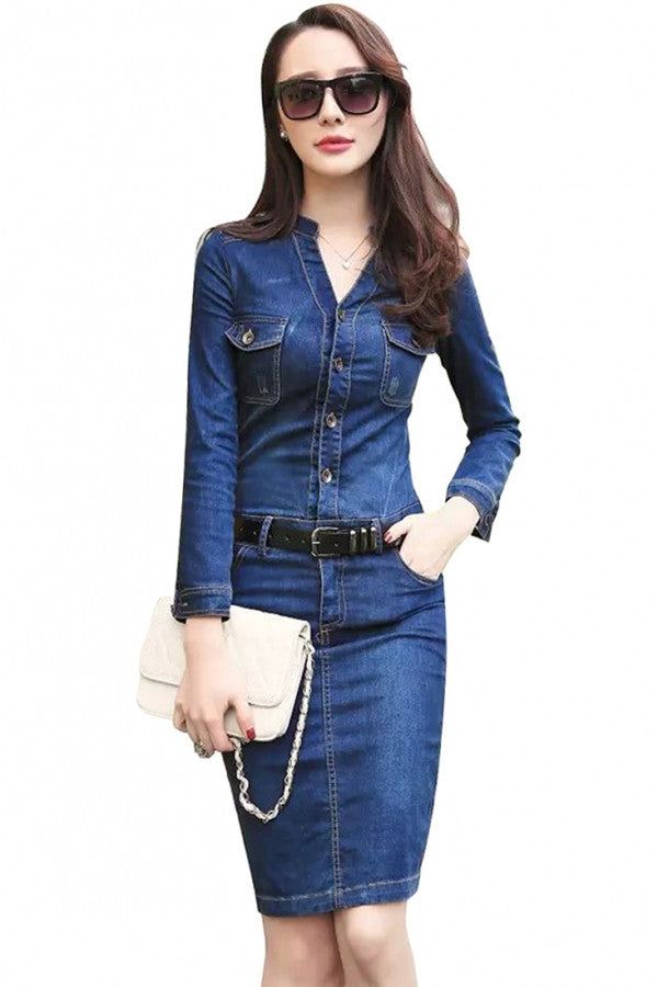 Essential Blue Bodycon Denim Dress