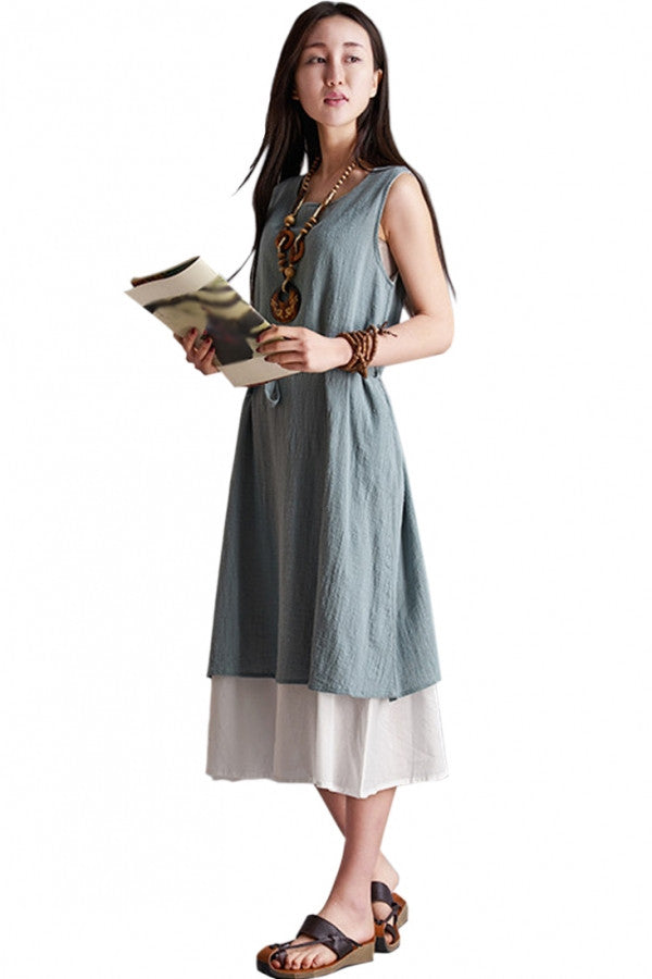 Demure Contrast Hem Sleeveless Linen Midi Dress