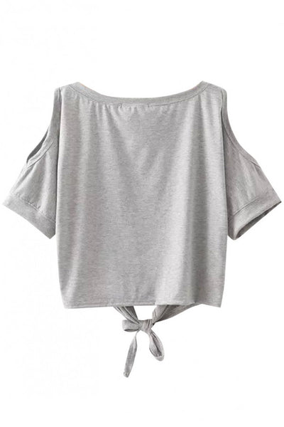Cutout Shoulder Crop Tee with Bowknot