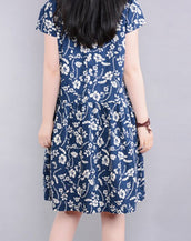 Deep Blue Floral Mini A-Line Skater Dress