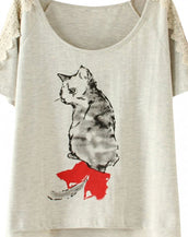 Casual Cat Print Light Grey Tee