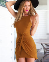 Charming Twist Skirt Sleeveless Slim Bodycon Mini Dress