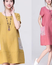 Casual Summer Patched Pockets Button Applique Loose Dress