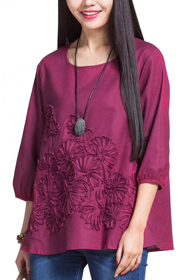 Feminism Floral Embroidery Loose Blouse