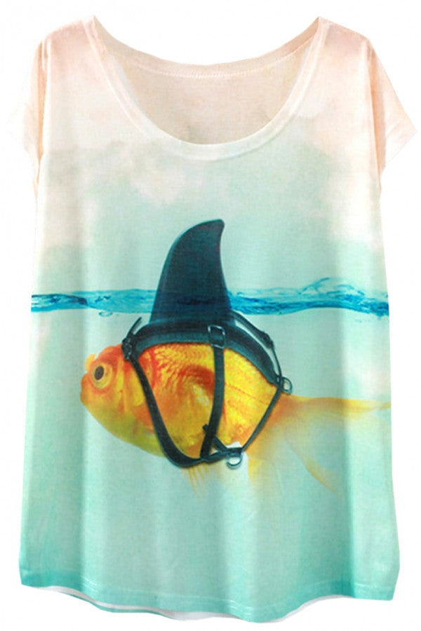 Prank Golden Fish Print Summer Batwing Sleeve Tee for Woman