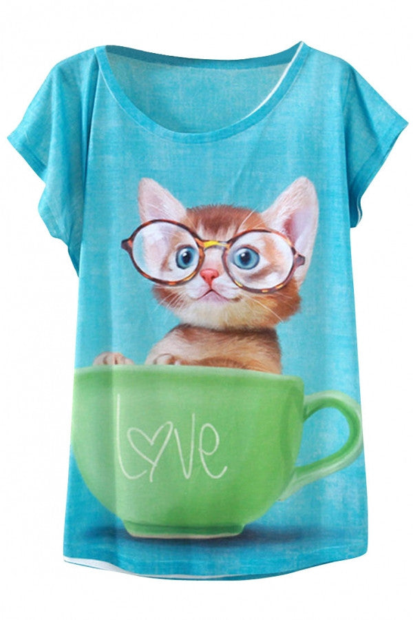 Kitten In The Cup Print Loose Tee