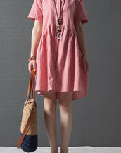 Loose Plaid Print Cotton Linen Short Sleeve Plus Size Woman Dress