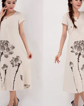 Chinoiserie Print Loose Short Sleeve Cotton Linen Dress