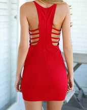 Sexy Red Cutout Deep V Plunging Neckline Sleeveless Mini Dress