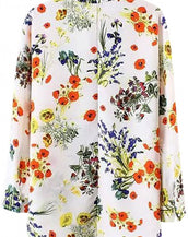 Wildfloral Print Long Sleeve Loose Blouse