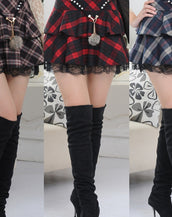 Claasy Plaid Print Double-Lyered High Waist Lace Hem Skirt