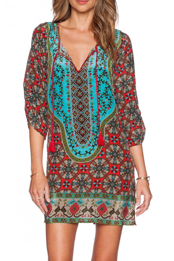Printed Neck-Tie Loose Dress
