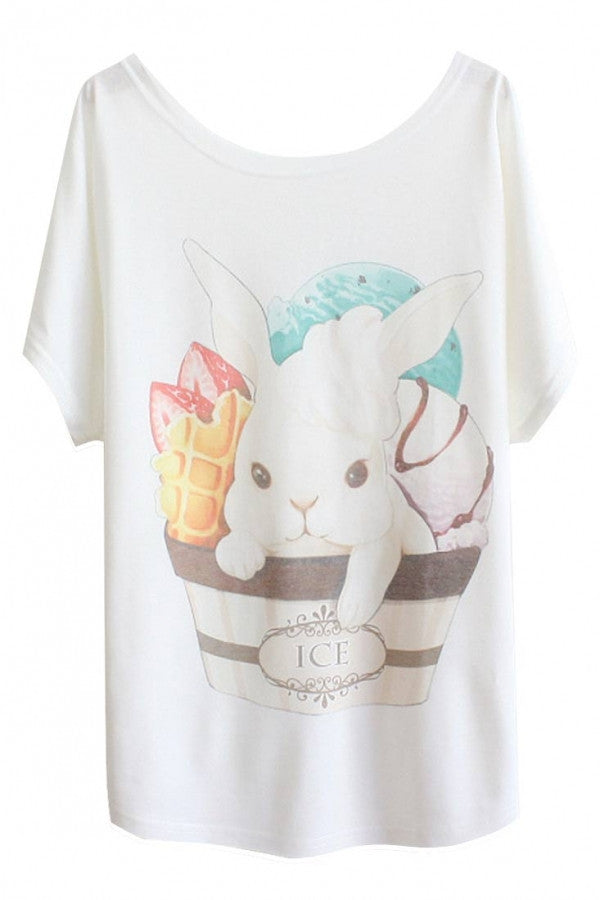 Ice Cream Leveret Print Batwing Sleeve Loose Summer Tee For Women