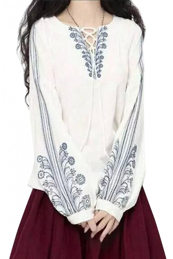 Graceful Embroidery Floral Chiffon Blouse