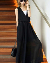 Awesome Black V Neck Sleeveless Elasticized Waist Jumpsuits