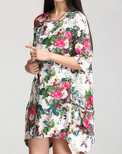 Floral Print Round Neckline Side Pocket Irregular Bottom Hem Mini Dress