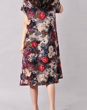 Floral Print Short Sleeve Loose Fit Midi dress