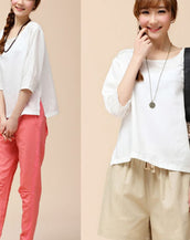 Favourite Solid White Three Quarter Sleeve Slit Blouse