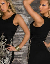 Chic Gold Embroidered Lace Tank Dress Black
