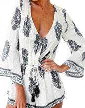 Bohemian Plunging Neck Romper