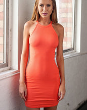 Awesome Solid Halter Sleeveless Bodycon Mini Dress For Woman