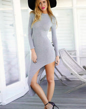 Flattering Long Sleeve Irregular Solid Midi Dress For Woman