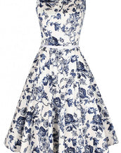 Demure Floral Boat Neck Skater Dress