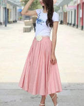 Fancy Solid Color Pleated Swing Midi Skirt
