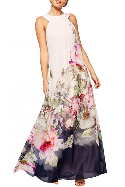 Stylish Floral Halter Top Maxi Dress