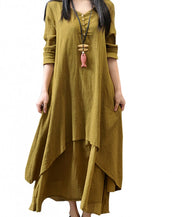 Ethnic Solid Irregular Layered Long Sleeve Maxi Dress