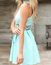 Aqua Lace Insert Mini Dress