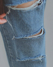 Edgy Light Blue Destroyed Frayed Skinny Jeans for Women